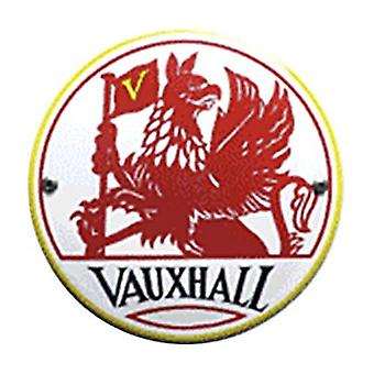 Vauxhall (Red Griffin) Vitreous Enamelled Steel Badge (100 Round)