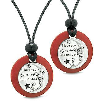 Je t'aime à la lune et retour Couples meilleurs amis médaillon amulettes Quartz rouge cerise colliers