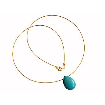 Gemshine womens pendant necklace gold plated turquoise drop blue 45 cm