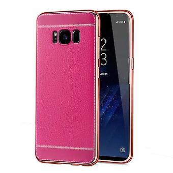 מקרה טלפון עבור Samsung Galaxy S8 + פלוס מקרה מגן במקרה מקרה עור מלאכותי ורוד