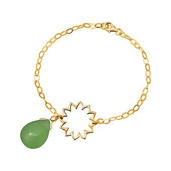Damen - Armband - 925 Silber - Vergoldet - Mandala - Chalcedon - Tropfen - Grün - YOGA