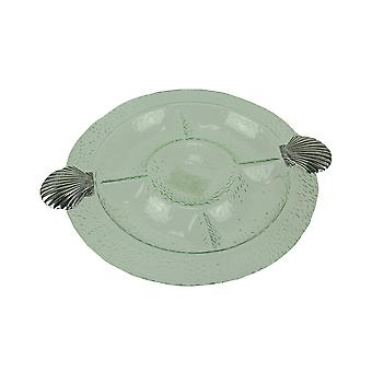 Glass and Metal Scallop Shell Compartmented Relish Tray