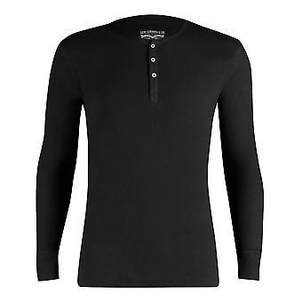 300ls de Levi côtelée coton manches longues Henley T Shirt - Jet Black