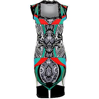Senhoras do laço Praça pescoço Multi cor padronizada estiramento Bodycon vestido das mulheres