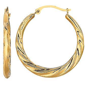 10 k keltainen kulta pyörre materiaalikuvio pyöreä Hoop korvakorut, halkaisija 25mm