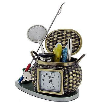 Cadeau tijd producten Hengelsport Creel Mini klok - bruin/zilver