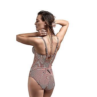 Marlies Dekkers 18185 Women's Holi Vintage Red Ecru Striped Padded Underwired Costume One Piece Swimsuit