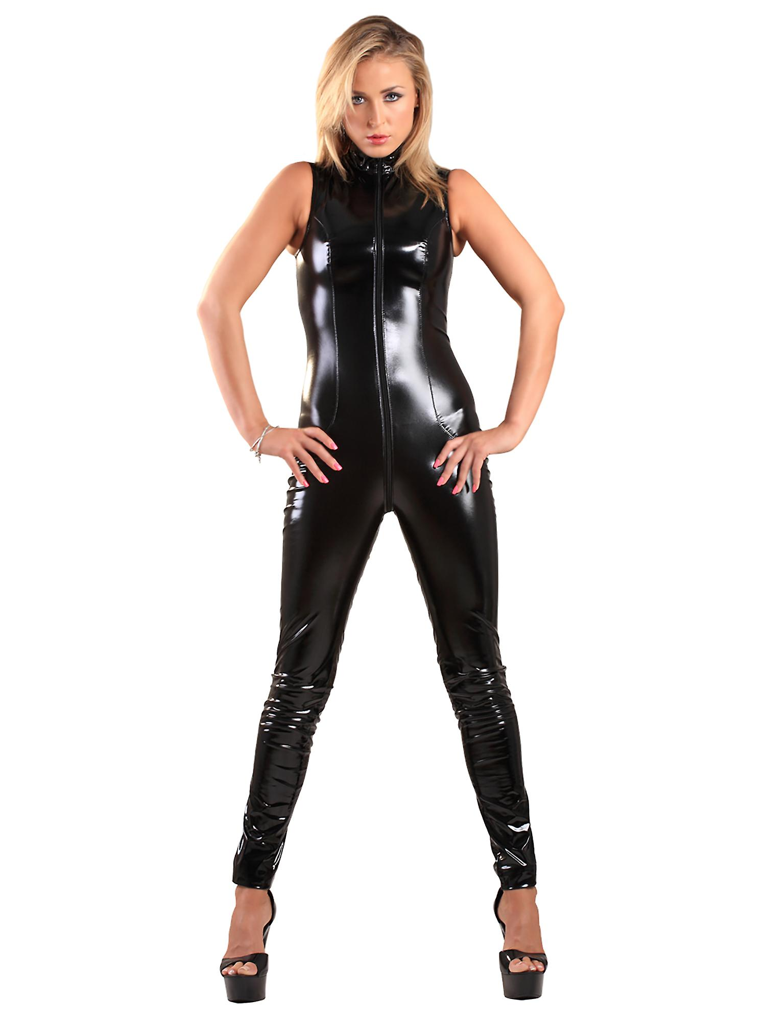 Honour Women's Sexy Catsuit in High Gloss PVC Sleeveless High Neck
