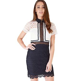 Danity Bodycon Dress With Monochrome Lace Overlay