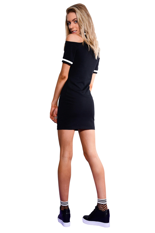 Lovemystyle Black Cold Shoulder Jumper Dress With White Trim