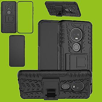 Für Motorola Moto G7 / G7 Plus Hybrid Case 2teilig Outdoor Schwarz Tasche Hülle Cover Schutz