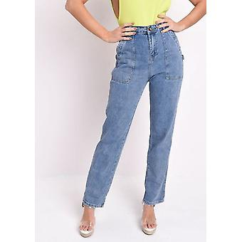 Alto Cargo talle medio lavado Denim Jeans azul