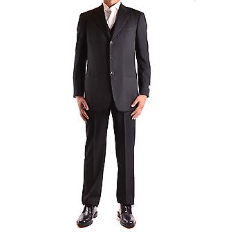 Armani Collezioni Ezbc049094 Men's Black Wool Suit