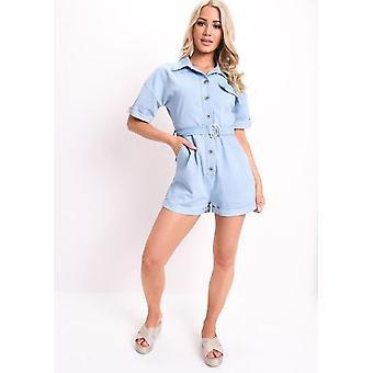 Jeans con cintura utilità tutina blu chiaro