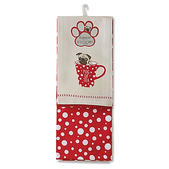 Cooksmart Pack of 2 Tea Towels, Pug of Tea