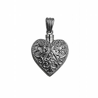 Silver 25x22mm Handmade Embossed Heart shaped Memorial Locket