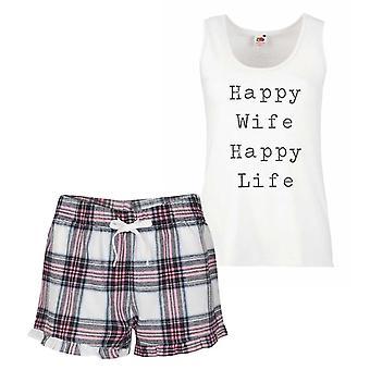 Šťastná žena šťastný život Pink tartan pyžamo