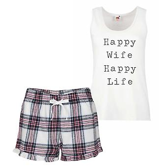 Esposa feliz vida feliz Tartan rosa pijamas