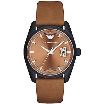 Emporio Armani Ar6080 Sportivo Analog Brown Leather Strap Men's Watch