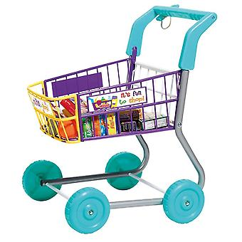 Casdon Little Shopper Shopping Trolley With Play Foods Aluminium Frame Pretend