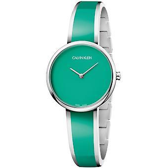 Calvin Klein seduzir verde dial verde pulseira de aço inoxidável Senhoras relógio K4E2N11L 30mm