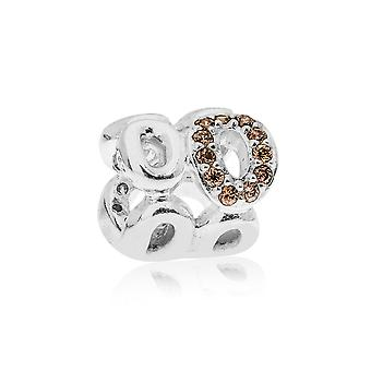 Pandora Circle of Friends Silver & Champagne & Brown CZ Charm 790445CZ