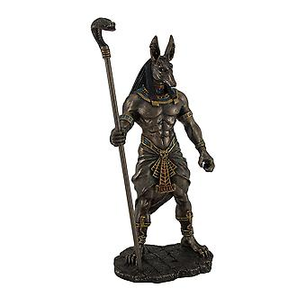 10.5 Inch Hoge Egyptische God Anubis Holding Cobra Head Scepter Standbeeld