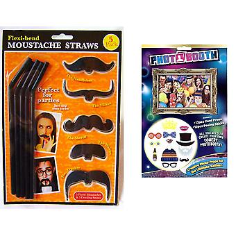 Photobooth Kids - Adults Creative Selife Photo Props - 12 Piece Set And Flexi-bend Moustache Straws - 2 Articles fournis
