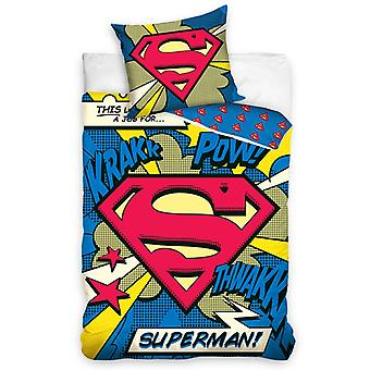 Superman Pow Single Duvet Cover Set - European Size