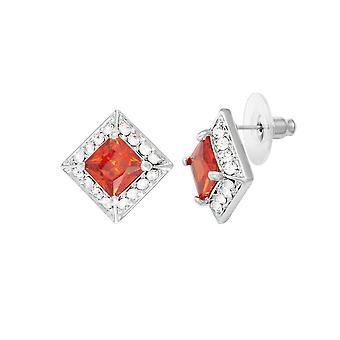 Eternal Collection Splendour Orange Crystal & Diamante Silver Tone Stud Pierced Earrings
