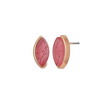 Eternal Collection Nirvana Pink Resin Rose Gold Tone Stud Pierced Earrings