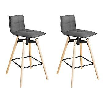 SoBuy Set di 2 Swivel Kitchen Barstool, sedia a sgabello a barre rotanti a 360 gradi con schienale, FST45-DGx2