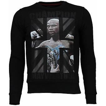 Mayweather-rhinestone Sweatshirt-svart