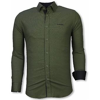 E Shirts - Slim Fit - Reptile Skin Pattern - Green
