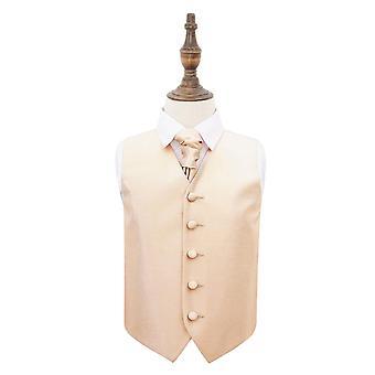 Champagne solide Check bruiloft gilet & Cravat Set voor jongens