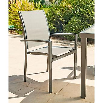 Wellindal Armchair Aluminum Textilen Horizon 3 Stackable Anthracite (Garden , Others)