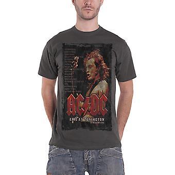 AC/DC T-Shirt Live at Donington Set 1991 Band Logo offiziellen Mens neue Holzkohle