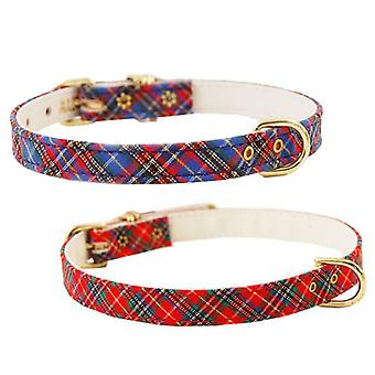 Pet Supply Imports 428 Plaid Scotch Adjustable Fancy Dog Collar 3/8