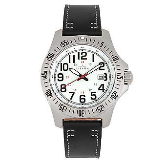 Elevon Aviator Leather-Band Watch w/Date - Black/White