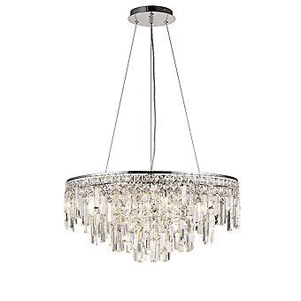 Diyas Maddison hanger ronde 8 licht G9 gepolijst chroom/kristal