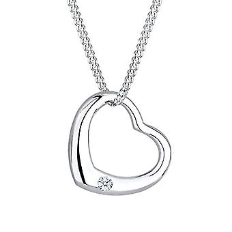 Diamore Necklace with Leaning Woman's Heart in Silver 925 with Diamond