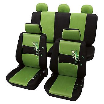 Stylish Green & Black Car Seat Covers For Fiat Linea 2007-2018
