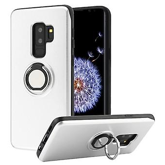 Silver/Black Multifunction Wallet Hybrid Case(w/ Mirror + Rotatable Ring Stand) for Galaxy S9 Plus
