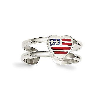 925 Sterling Silver Solid smaltované vlajky láska srdce prst prsteň šperky Darčeky pre ženy-1,5 gramov