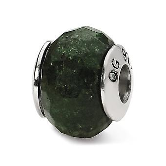 925 Sterling Silver Faceted Polished finish Reflections Dark Green Quartz Stone Bead Charm Pendant Necklace Jewelry Gift