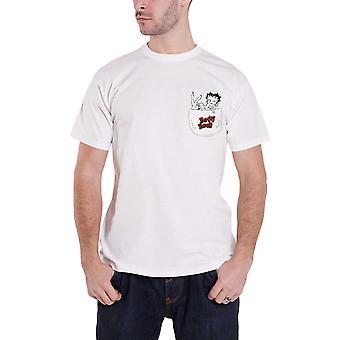 Betty Boop T Shirt My Pocket yeni Resmi Erkek Beyaz