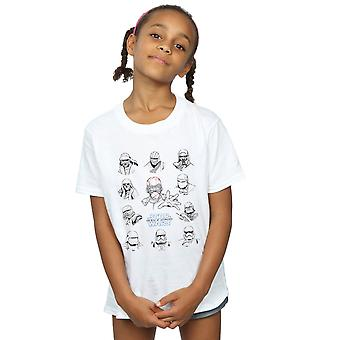 Star Wars The Rise Of Skywalker First Order Character Line Up Mono Girls T-Shirt