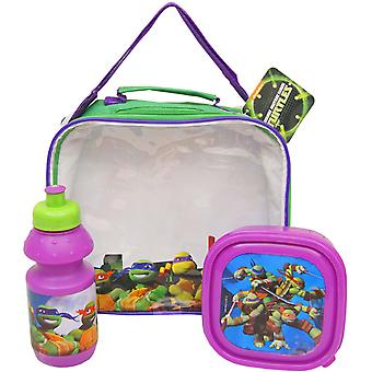 Turtles bag with lunch box and water bottle