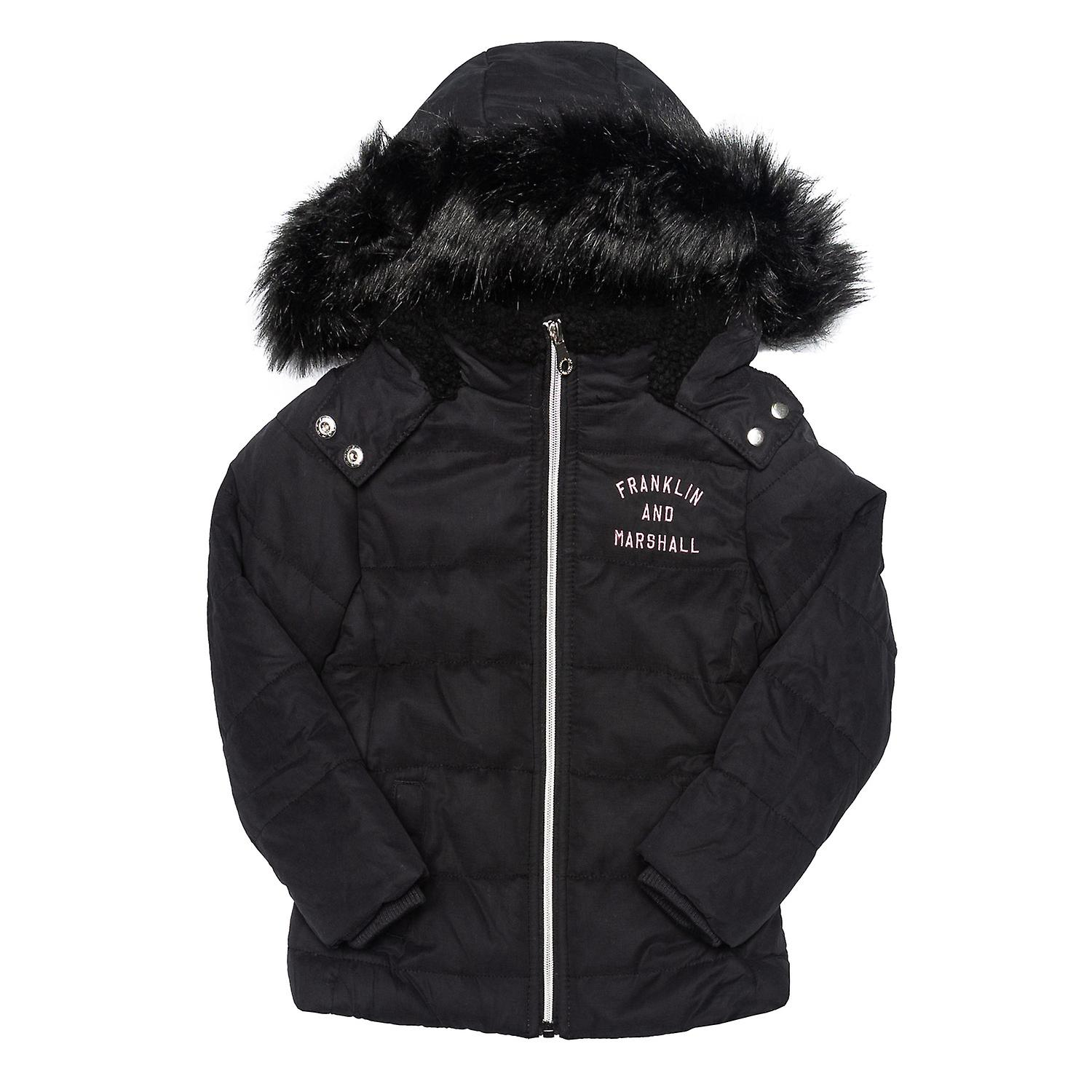 Junior Girls Franklin And Marshall Fur Hood Parker Jacket In Black- Zip