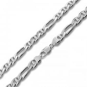 Dazzlingrock Collection Men's Platinum Plated Hip Hop Figaro Chain (7 MM Width x 36 Inch Length)